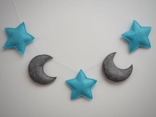 Girlande Wanddekoration Sterne Mond Kinderzimmer Babyzimmer türkis grau Junge