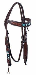 Western-Pferd-Tuerkis-Hand-Perlen-und-verzierter-dunkel-Leder-Reins-Trense