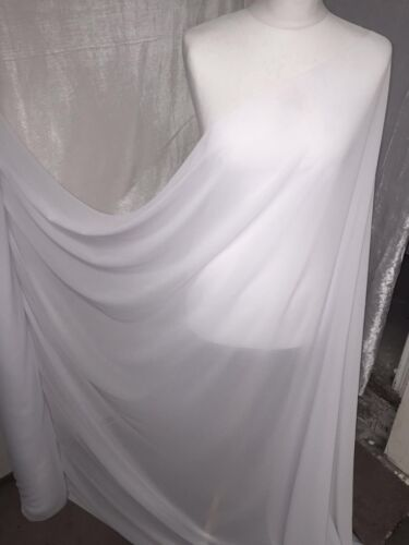 "3 MTR QUALITY WHITE GEROGETTEE CREPE BRIDAL CHIFFON FABRIC...58/"" WIDE £8.99"