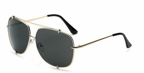 Flat Top Oversized Pilot Sunglasses Women UV400 Retro Big Frame Aviator Glasses