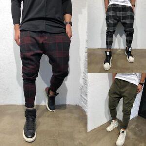 Men-039-s-3D-Plaid-Tartan-Lattice-Skinny-Trousers-Slim-Fit-Stretch-Pencil-Pants-New