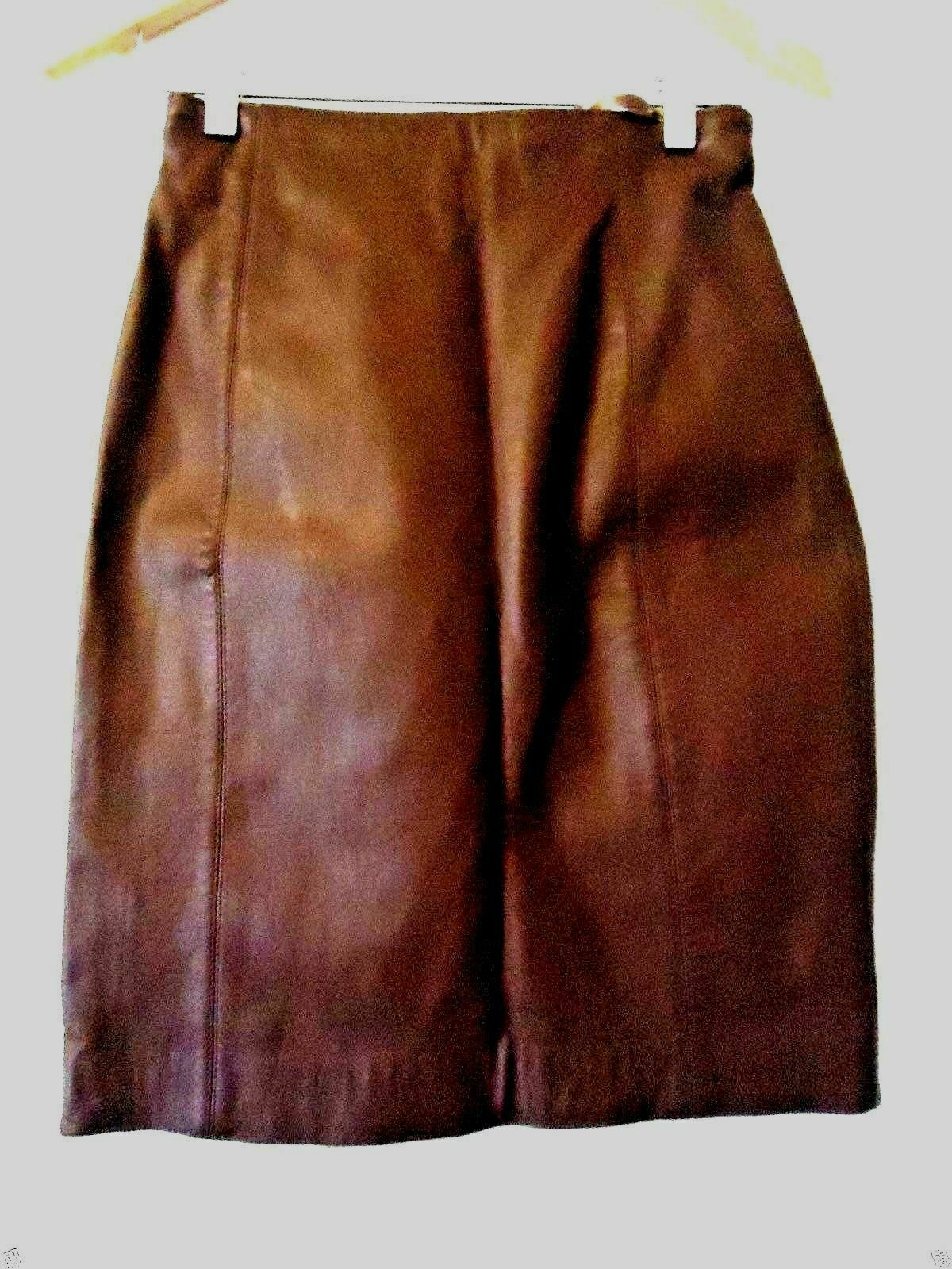 TANNERY WEST WOMEN'S GENUINE BROWN LEATHER LINED DRESS SKIRT SIZE 6