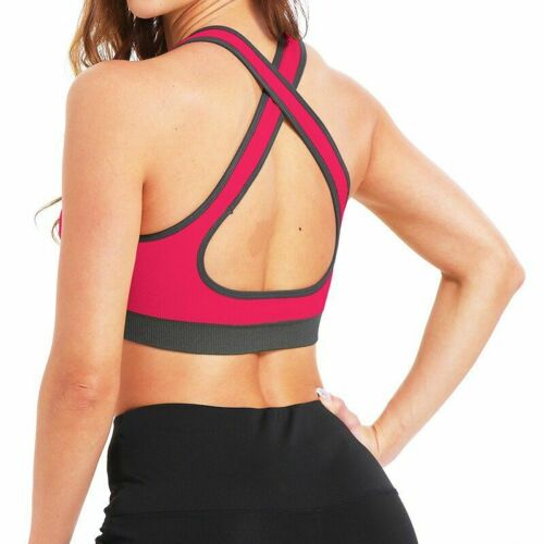 Details about  /Sexy Cross Back Women Sports Bras Yoga Crop Tops Gym Shirt Athletic Shockproof