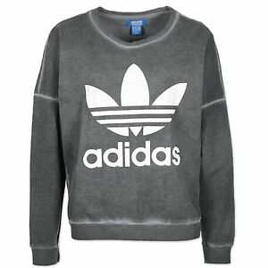 d23026ddc5fa Image is loading Adidas-Originals-Women-Washed-Crew-Trefoil-Sweatshirt- Pullover-