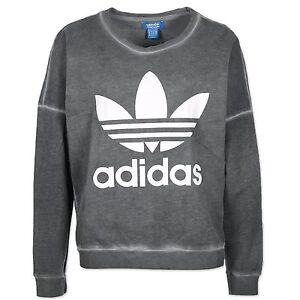 adidas originals damen washed crew trefoil sweatshirt pullover grau weiss. Black Bedroom Furniture Sets. Home Design Ideas