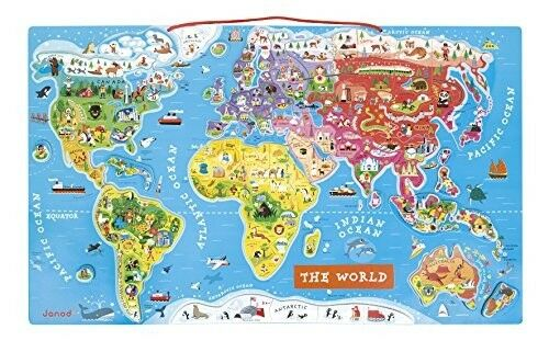 Janod J05504 Wooden Magnetic World Map Puzzle, English Version, 92 Pieces