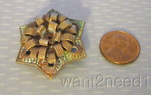 antique French brass metal HIGH RELIEF BUTTON lacy 6-point star flower 35mm