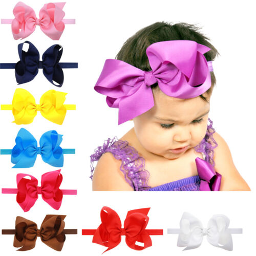 "Baby Headbands Chiffon 6/"" Big Hair Bows Baby Girl Headbands Lot Pure Color"