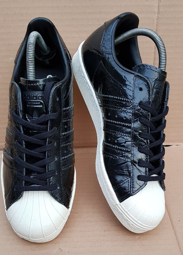 NEW ADIDAS SUPERSTAR 80'S TRAINERS Noir PATENT REPTILE EFFECT Taille 6LOVELY