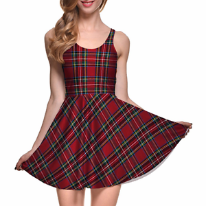 Red-Plaid-Trendy-Tartan-School-Girl-Stretchy-Lightweight-Summer-Skater-Dress