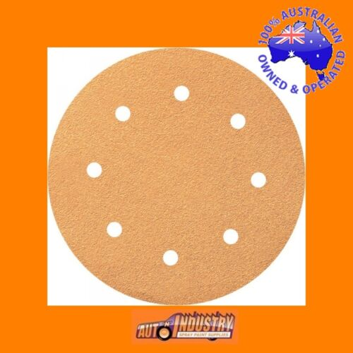 "20 x EURO QUALITY 200mm 8"" VELCR0 SANDING DISCS 40,80,120 or 180 GRIT.8hole"