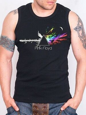 PINK FLOYD DARK SIDE OF THE MOON 2 Black Tank Top Rock Athletic Vest Rock Band