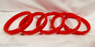 LOT OF 5 RED  BANGLE BRACELET PLASTIC PARTY FUN WEAR GIVE AWAY