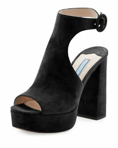 NEW w o Box Prada Cutout Suede Peep Toe Platform Sandals- Black US ... fcba0346ed