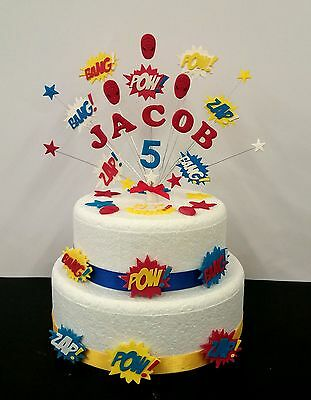 Magnificent Personalised Superhero Birthday Cake Topper And Loose Decoration Funny Birthday Cards Online Necthendildamsfinfo