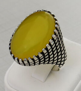 Handmade-Authentic-Natural-Yellow-Agate-925-Sterling-Silver-Agate-Ring-D70