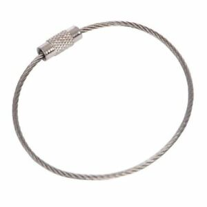 20pcs Stainless Steel Aircraft Cable Wire Key Chain Ring Screw Locking