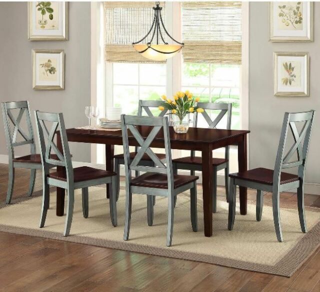 Farmhouse Dining Table Set Rustic Country Kitchen 7 Piece Chairs Wood Blue  Brown