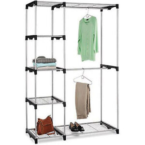 Image Is Loading Free Standing Closet Organizer Rack Double Rod Silver