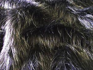Tissu Fausse Fourrure Super Luxueuse Matière - Poil Long Noir