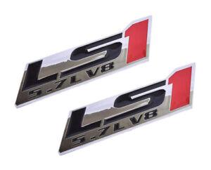 2x LS2 6.0L V8 Engine Emblems Badge for Gm Chevy Chevrolet Silverado Chrome blue