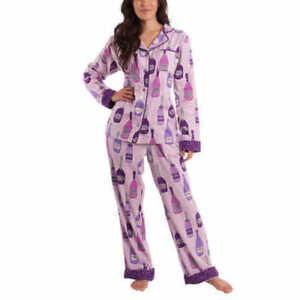 NWT-Munki-Munki-Women-039-s-Classic-Flannel-Pajama-PJ-Set-Purple-Pick-Size