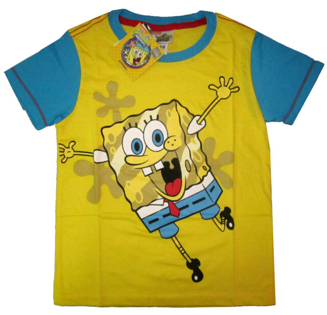 SPONGEBOB kids short sleeve yellow cotton t-shirt Size 4,6,8,10 Age4-7y FreeShip