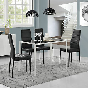 esstisch 4 st hle schwarz wei k chentisch esszimmertisch glas tisch ebay. Black Bedroom Furniture Sets. Home Design Ideas
