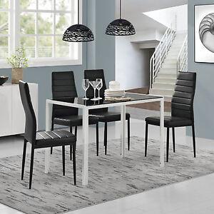 en.casa] Esstisch + 4 Stühle schwarz/weiß Küchentisch ...
