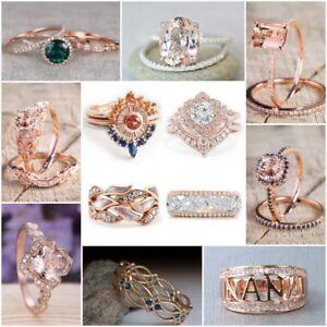 Fashion-Women-18K-Rose-Gold-Plated-Sapphire-Gemstone-Ring-Wedding-Jewelry-Sz5-10