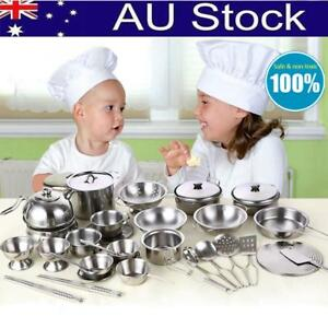 Kids-Play-House-Kitchen-Toys-Pretend-Stainless-Steel-Pots-Pans-Cooking-Cookware