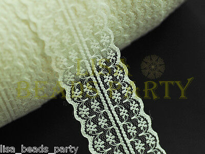 Hot 2/10yards 45mm Fabric Embroidered Lace Bilateral Trim Ribbon Sewing