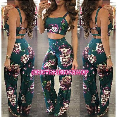 B1 Women Bo ho Floral Print Backless Crop Top  2 PC Set Casual Beach Jumpsuit