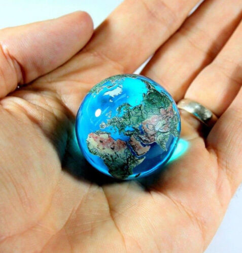 Giant 35mm (1.4) AQUA CRYSTAL Earth Globe Marble - Incredible Detail - Orrery