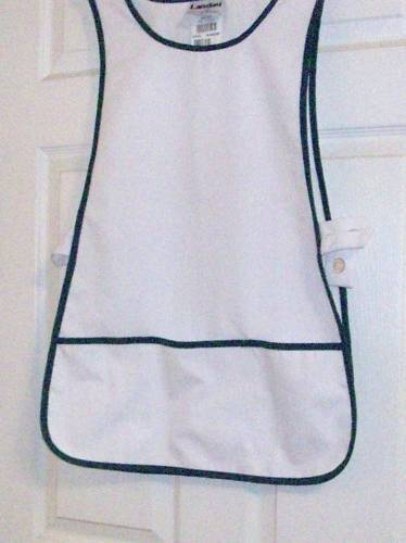 2XLARGE PULL-OVER NURSE// COBBLER APRON WHITE WITH GREEN TRIM $4.99