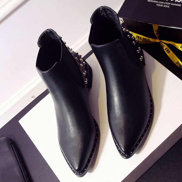 Stivali stivaletti bassi bassi bassi scarpe anfibi 3 cm nero  eleganti simil pelle 9634 | Numerosi In Varietà  5ce95c