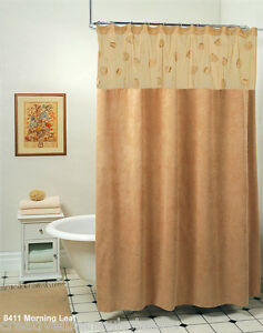 Image Is Loading Morning Leaf Suede Fabric Shower Curtain Taupe Camel