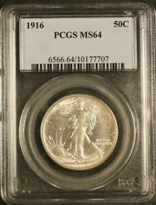 1916-50C-Walking-Liberty-Half-Dollar-PCGS-MS64-Brilliantl-UNC-Rare-Key-Date-7707