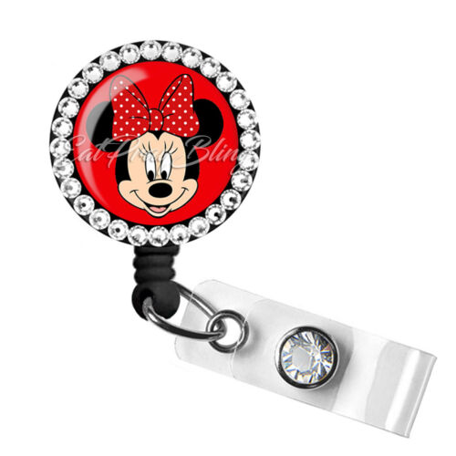Retractable Badge Reel Name Tag ID Pull Clip Holder Lanyard Minnie Mouse Gift