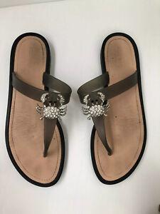 Details about NINE WEST Womens Diamante Crab Flat Thongs Sandals Size 10
