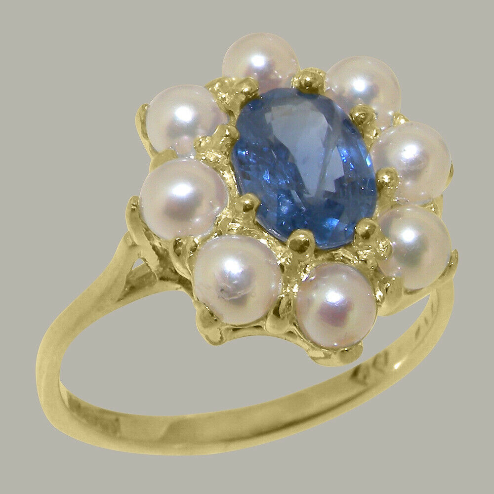 18k Yellow gold Natural Sapphire & Cultured Pearl Womens Cluster Ring