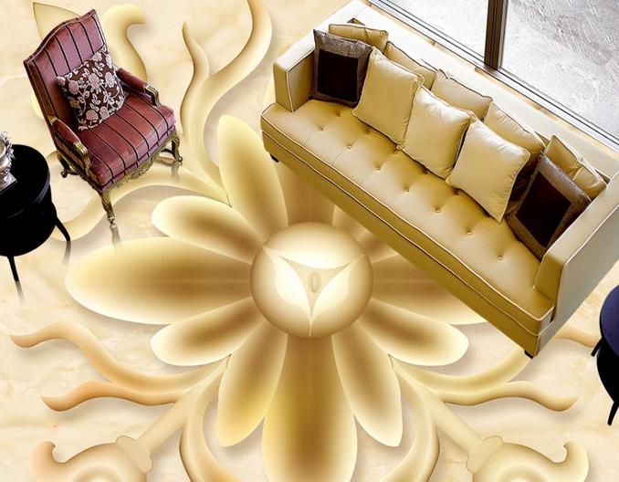 3D Rounded Flowers 65 Floor WandPapier Murals Wand Drucken 5D AJ WandPapier UK Lemon