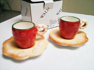 COPPIA-DI-TAZZINE-DA-CAFFE-039-CON-PIATTINI-IN-CERAMICA-COFFEE-CUPS-MADE-IN-ITALY