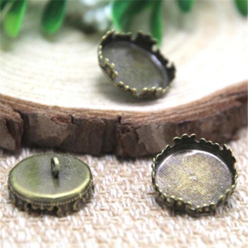 35pcs bronze Tone round Glass Cabochon settings charm Caps fit 15mm glass dome