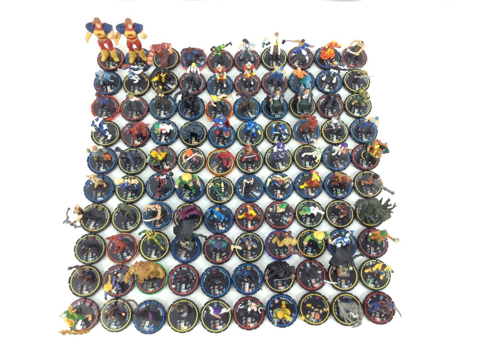 Heroclix Lote de 100 tarjetas no Anillo Azul Amarillo Rojo-serie Mayor Atlas