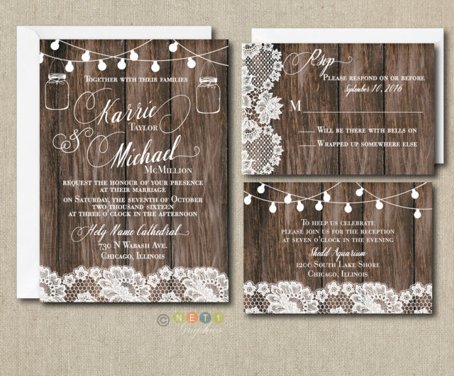 wedding invitation set rustic lace lights with envelopes 100 sets