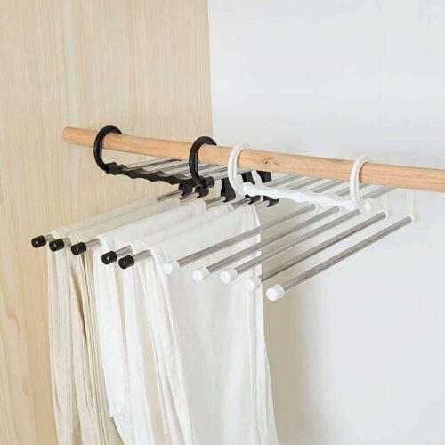 Details about  /AB/_ JS/_ KE/_ KF/_ Multi-Layer Clothes Pants Hangers Wardrobe Jeans Storage Rack Sp