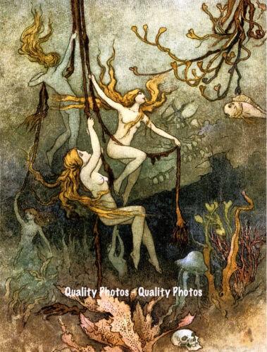 "Sea Faires Underwater 8.5x11/"" Photo Print Fantasy Ocean Undersea Nude Fairy Art"