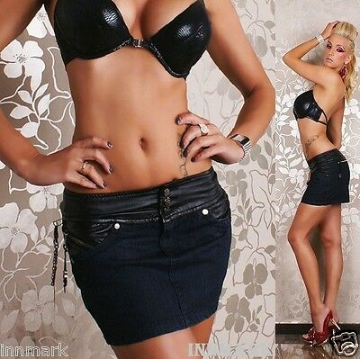 137 SEXY CLUBBING PARTY COTTON LEATHER LOOK MINI SKIRT 5 POCKETS SIZE UK 6-12