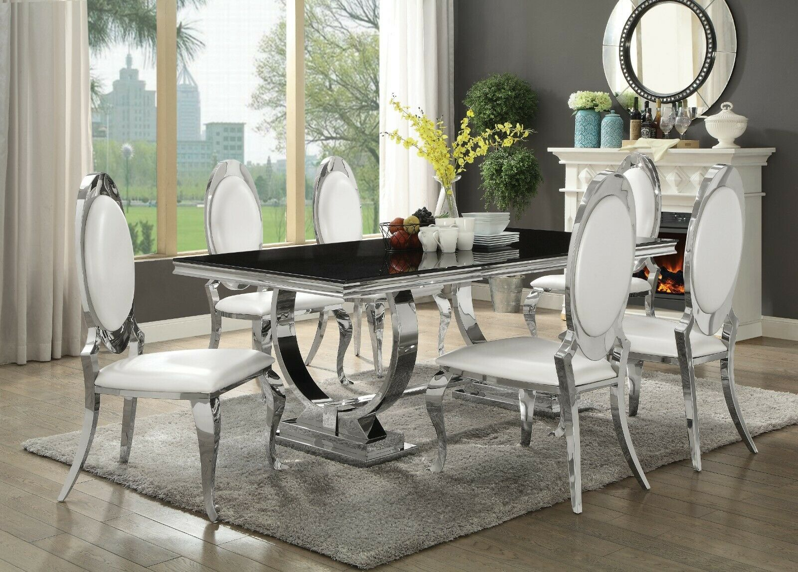 Modern 7 Piece Dining Set Rectangular Table Black Glass Stainless Steel Chrome For Sale Online